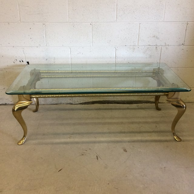 Brass & Glass Cabriolet Leg Coffee Table - Image 2 of 9
