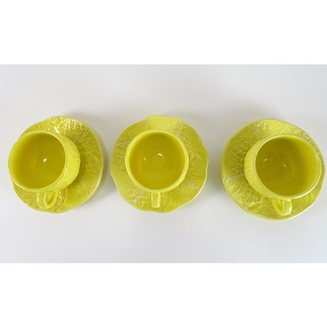 Farmhouse Vintage Yellow Cabbage Majolica Tea Cup and Saucer - Service for 3 For Sale - Image 3 of 10