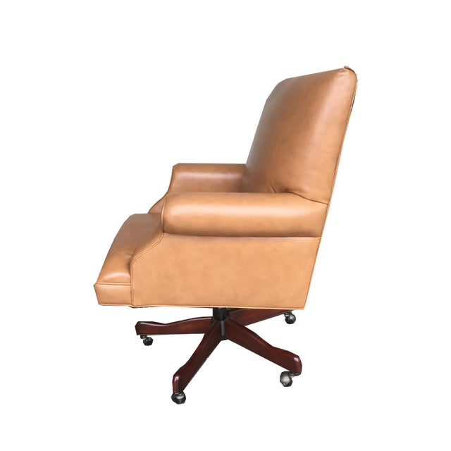 Vintage Mid Century Modern Tan Leather Chesterfield Style Executive Office Chair - Image 3 of 4