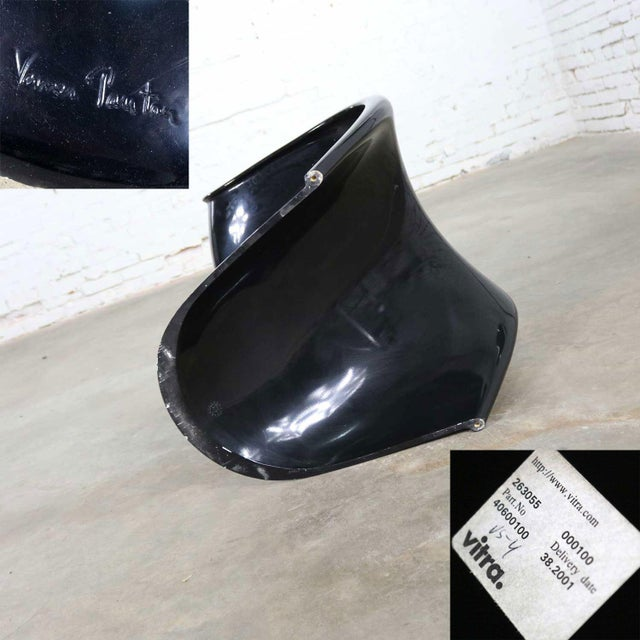 Gloss Black Verner Panton Chair Classic Molded S Chair by Vitra Signed For Sale - Image 10 of 13