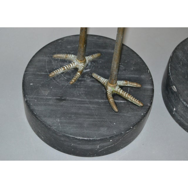 Hollywood Regency Asian Style Bronze Crane Sculptures Black Marble Base, a Pair For Sale - Image 11 of 13