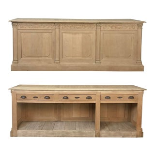 Antique French Louis XVI Stripped Store Counter For Sale