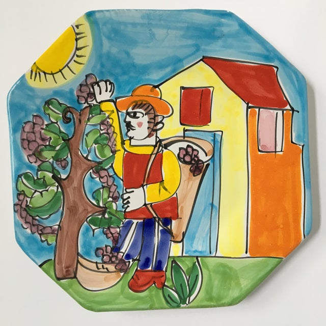 "Vintage La Musa ""Harvesting Grapes"" Pottery Plaque/Platter For Sale - Image 13 of 13"