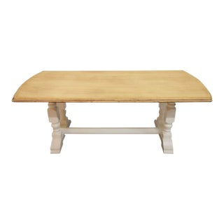 Vintage Restored Like New French Farmhouse Trestle Dining Table Boho Chic For Sale