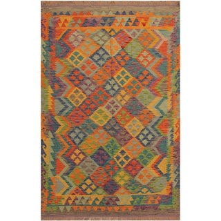 Hulda Gray/Blue Hand-Woven Kilim Wool Rug -4'11 X 6'7 For Sale