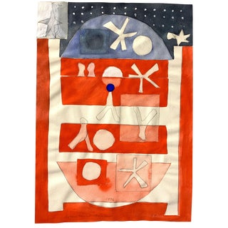 """1976 """"Bicentennial Banner"""" Gouache Painting Nyc Artist For Sale"""