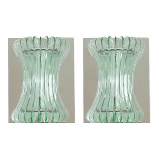 1960s Vintage Italian Beveled Glass Sconces by Cristal Arte - a Pair For Sale