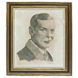 Image of Vintage Pencil Portrait Sketch of Dapper Young Man For Sale