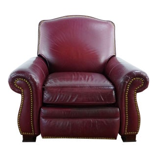 Maroon Leather Armchair For Sale