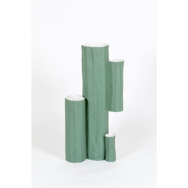 Boho Chic Paper Clay Cactus Vase For Sale - Image 3 of 3
