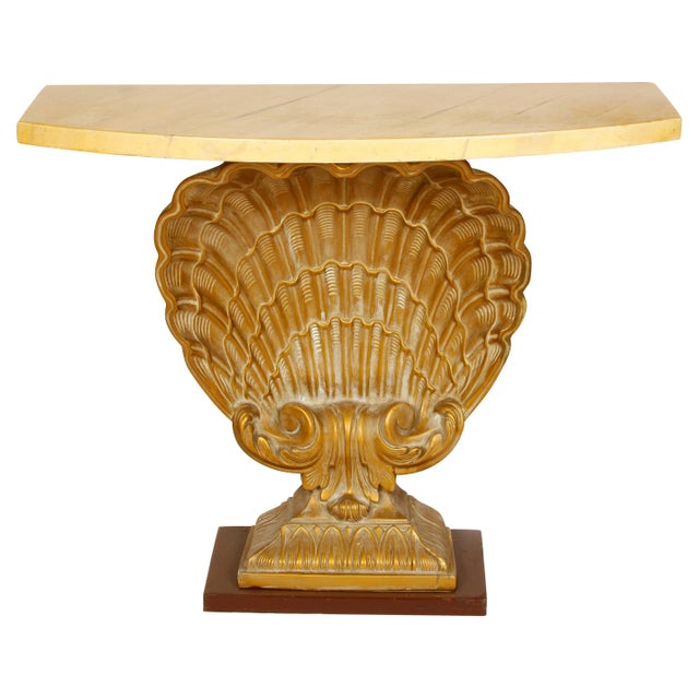 Mid 20th Century Grosvenor House Vintage Shell Console with Faux Marble Top For Sale - Image 5 of 5