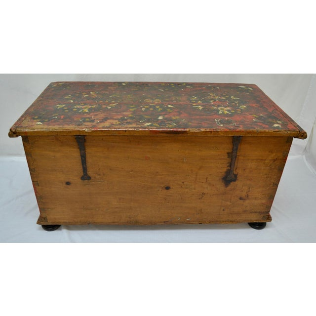 Hungarian Pine Trunk or Blanket Chest in Original Paint For Sale - Image 12 of 13