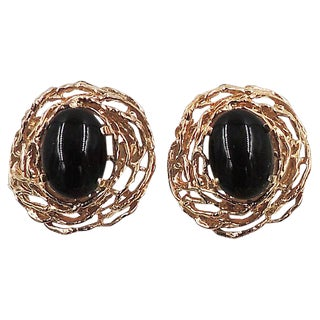 Panetta Faux-Onyx Cabochon Earrings For Sale