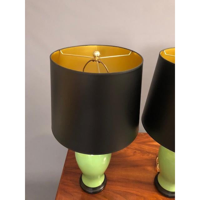 Ceramic Mid-Century Green Porcelain Table Lamps - a Pair For Sale - Image 7 of 9