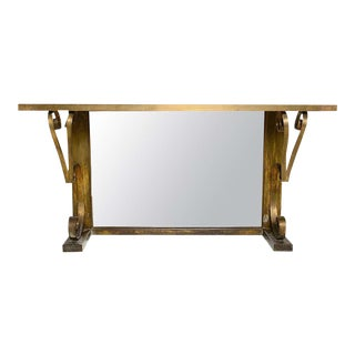 Mexican Modern Regency Arturo Pani Bronze Eglomise Console Table, 1940s For Sale