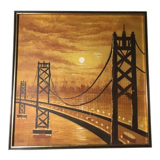 Vintage Mid-Century Suspension Bridge at Sunset Painting For Sale