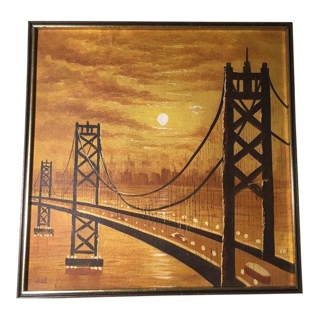 Vintage Mid-Century Suspension Bridge at Sunset Painting For Sale