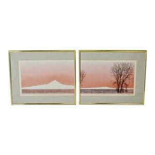 Vintage Framed Diptych Limited Edition Landscape Scene Lithograph - Artist Signed For Sale