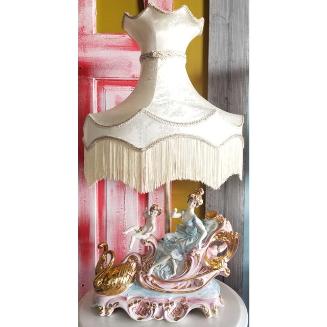 Victorian Vintage Mid 20th Century Italian Lady Cherubs Swans Lamps - a Pair For Sale - Image 3 of 12