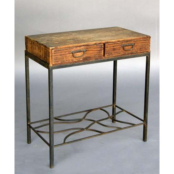Antique storage box on contemporary hand wrought iron base. Petite and light, great side or end table or bed side table.