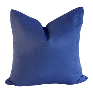 Modern Blue Suede Pillow Cover For Sale