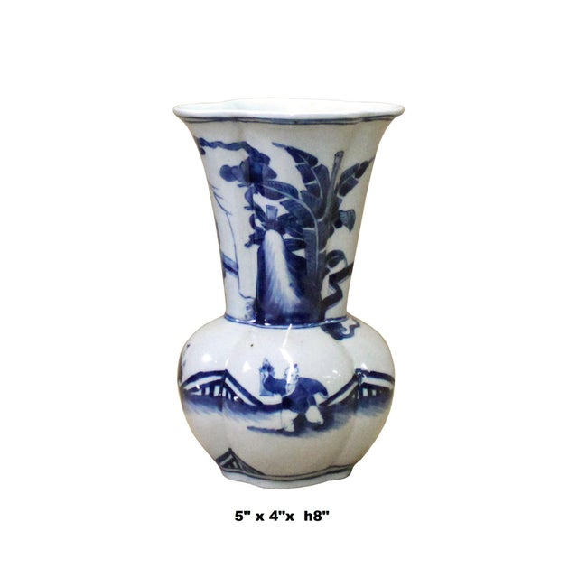 Chinese Chinese Blue White Porcelain Flower Shape People Scenery Vase For Sale - Image 3 of 8