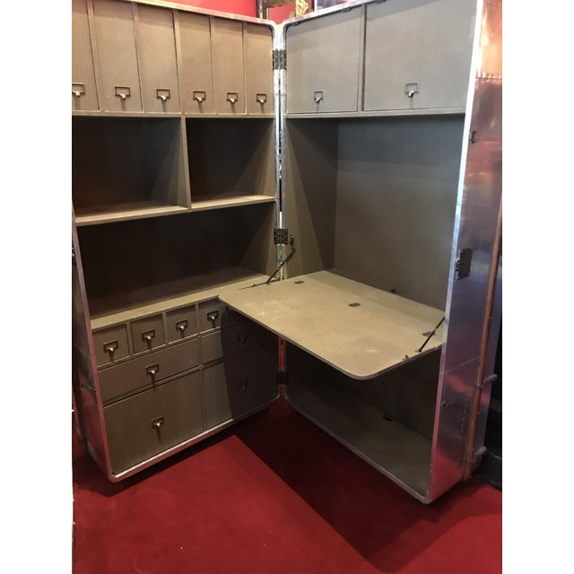 2010s Metal Sheet Restored Office Trunk For Sale - Image 5 of 11