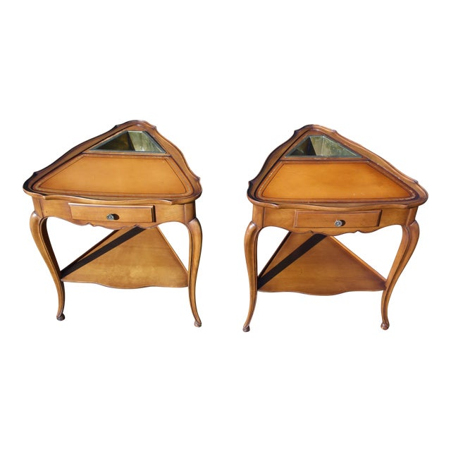 Vintage French Style Leather Top Triangle End Tables - A Pair For Sale