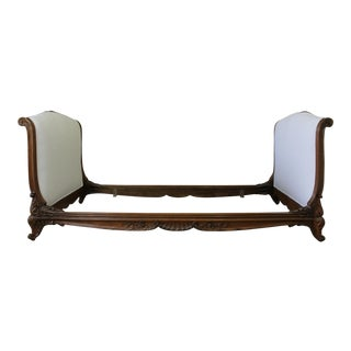 19th C. White Belgian Linen Upholstered Carved Walnut Daybed