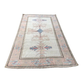 1960s Pastel Color Turkish Wool Area Rug- 4′9″ × 7′10″ For Sale