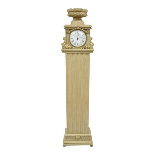 "72"" French Regency Empire Style Cream Painted Grandfather Case Standing Clock"