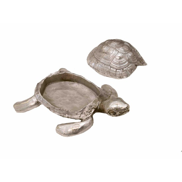 Art Deco Silver Plated Bronze Box With Turtle Shape, by Robert Goossens, Circa 1970 For Sale - Image 3 of 5