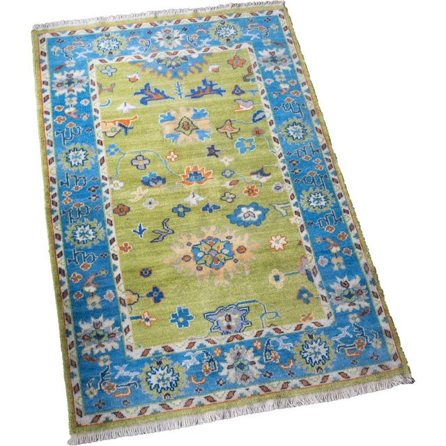 Blue Woven Hand Knotted Rug-4' x 6' For Sale - Image 4 of 4
