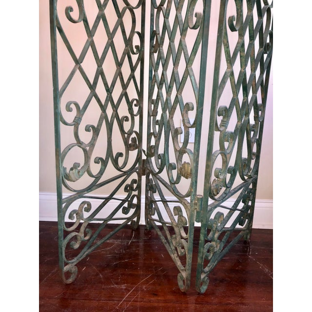 Antique Green Wrought Iron Folding Divider For Sale - Image 11 of 12