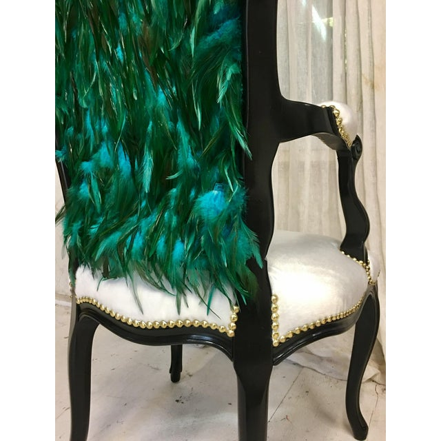 Modern Teal Feather Chair For Sale - Image 4 of 7
