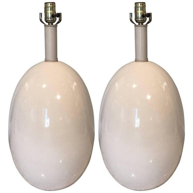 California Studio Porcelain Egg Shaped Lamps - A Pair For Sale In Atlanta - Image 6 of 6
