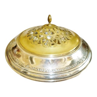 Antique Sterling Silver Center Bowl With Pierced Brass Lid for Flowers For Sale