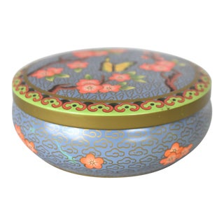 Vintage Daher English Tin with Pink Cherry Blossoms and Butterfly For Sale
