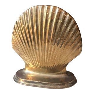 Neoclassical Brass Shell Bookends - a Pair
