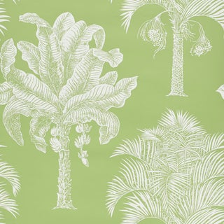Sample - Schumacher Grand Palms Wallpaper in Leaf For Sale