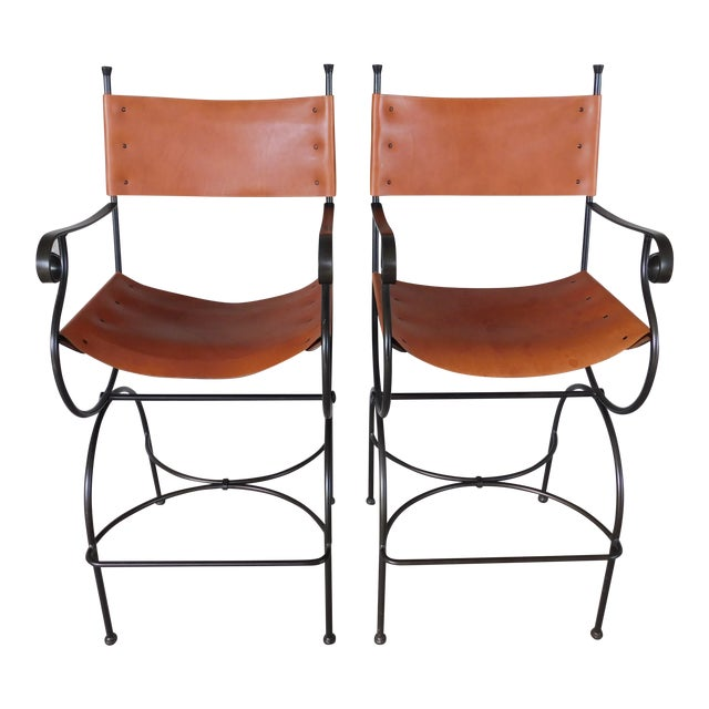 Charleston Forge Wrought Iron Slight Leather Seat Bar Stools - a Pair For Sale