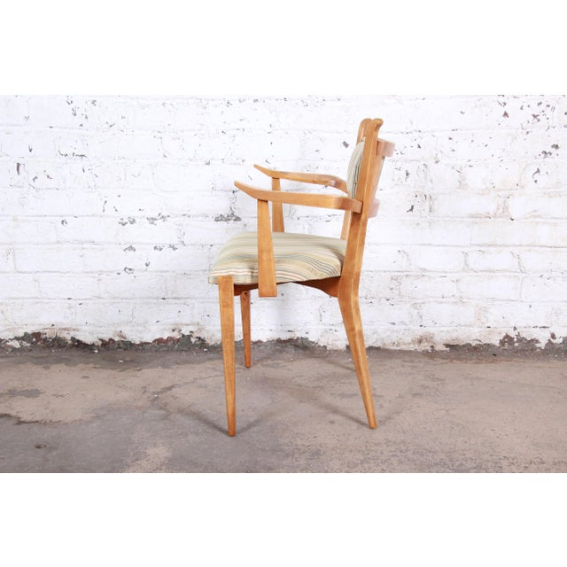 Edmond Spence Swedish Modern Sculpted Tiger Maple Armchairs - a Pair For Sale - Image 9 of 13