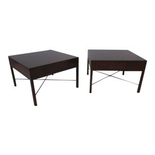 Rosewood and Brass End Tables - a pair For Sale