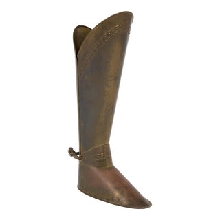 French Antique Brass Boot with Spur Stand For Sale