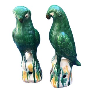 Majolica Drip Glaze Parrots, a Pair For Sale