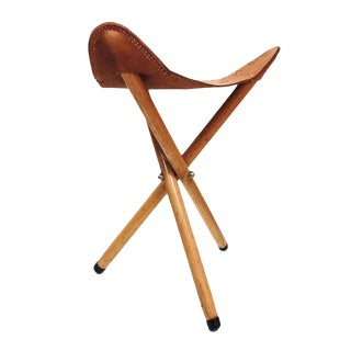 Vintage Leather Stool Campaign Sling Stool Thunderbird Tripod For Sale