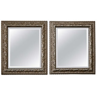 Jansen Style Silver Gilt Mirrors - Pair For Sale