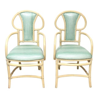MCM Willow & Reed Rattan Bamboo Armchairs- a Pair For Sale