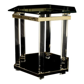 Charles Hollis Jones Mid Century Brass Lucite and Glass Side End Table For Sale