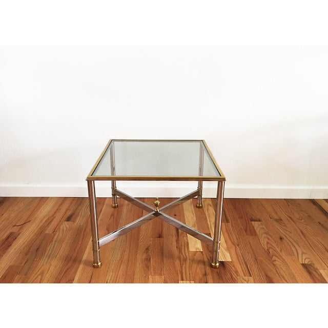 La Barge Brass Chrome & Glass Side Table - Image 3 of 6